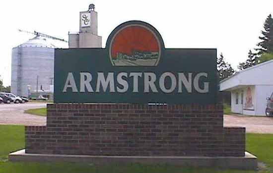 Sign entering Armstrong from Highway 9 West